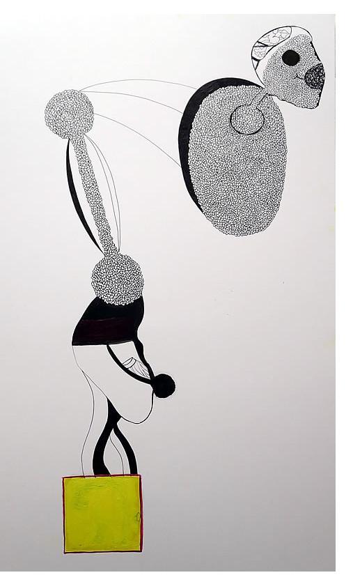 Adam Grippo :'Untitled' 2013, ink, gouche &  oil, 30 x 20 in
