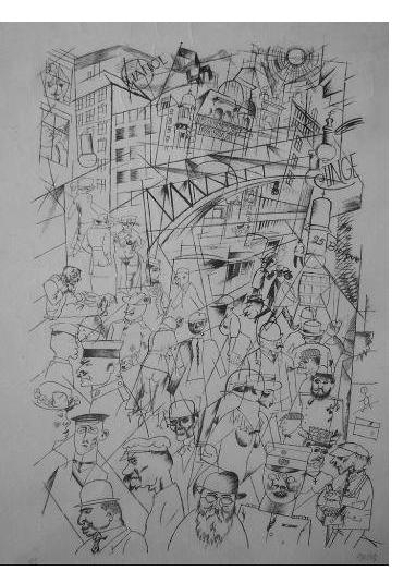 George Grosz - 'Friedrichstrasse' 1918  offset litho   14 x 10 ins  signed. From 'Ecce Homo'