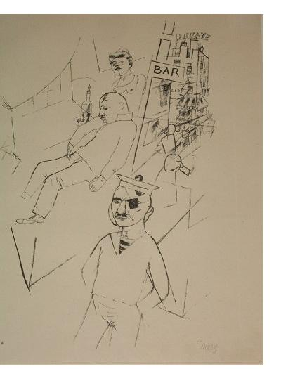 George Grosz - 'Marseilles' 1917  offset litho  14 x 10 ins  signed. Published by Malik Verlag, Berlin, 1922