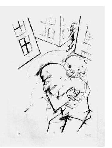 George Grosz - 'The End' - 1918, offset lithograph - edition of 50, 14 x 11 ins. Signed