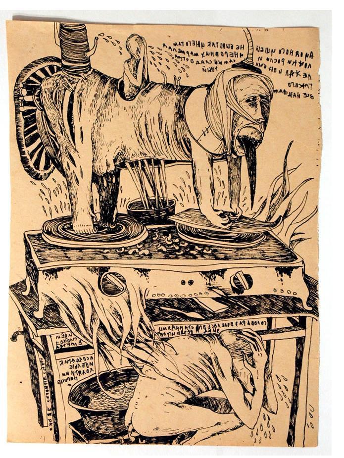 Foma Jaremtschuk :'Untitled' c.1960  ink on found paper   40 x 30 cm