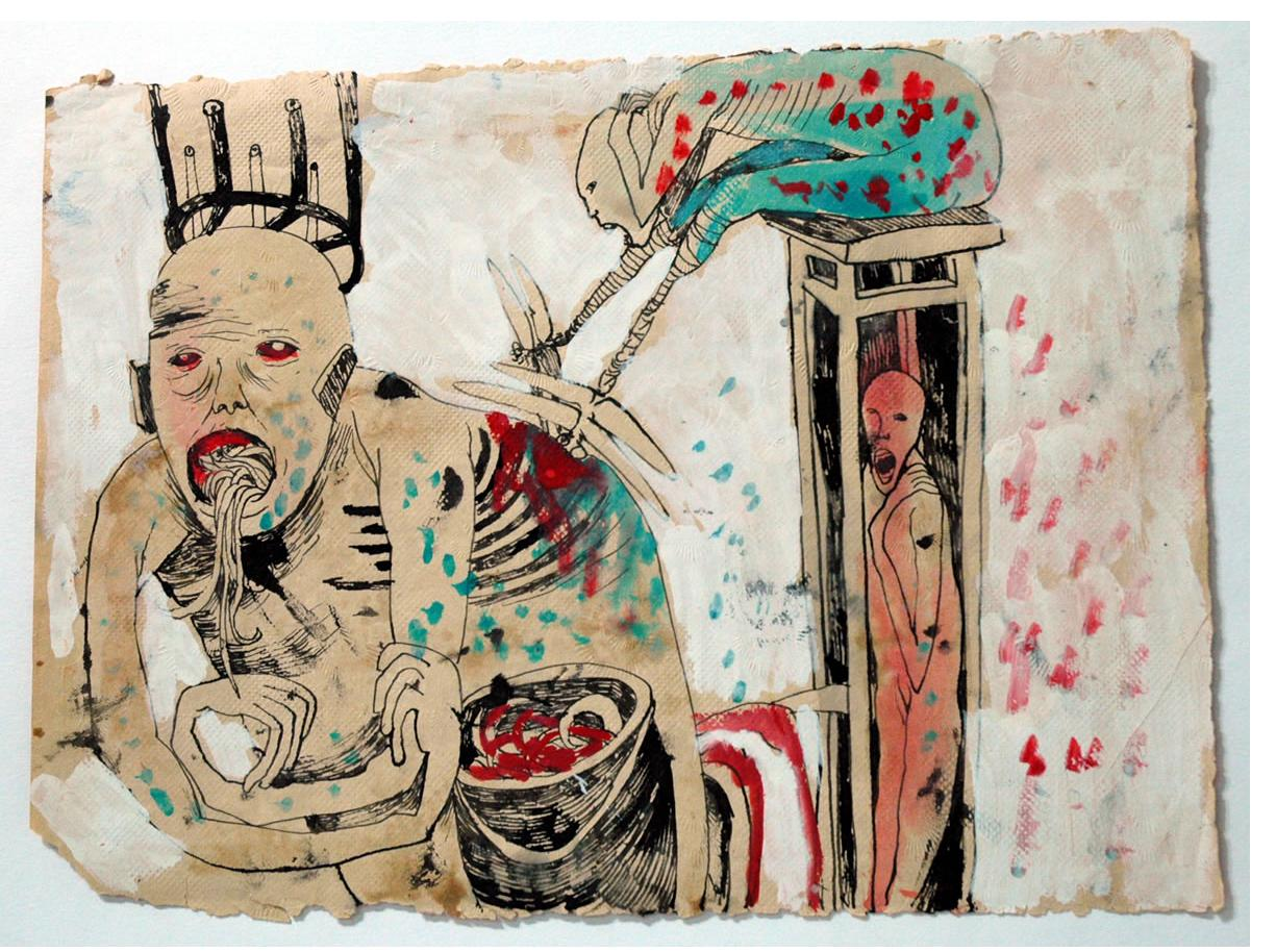 Foma Jaremtschuk :'Untitled' c.1960  ink & watercolour on found paper  28 x 35 cm