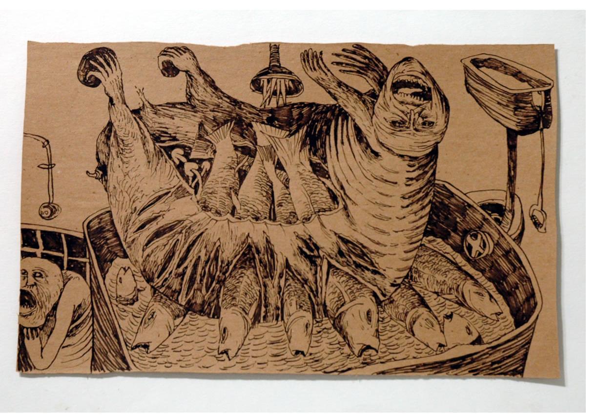 Foma Jaremtschuk :'Untitled' c.1955  ink on found paper  34 x 46 cm