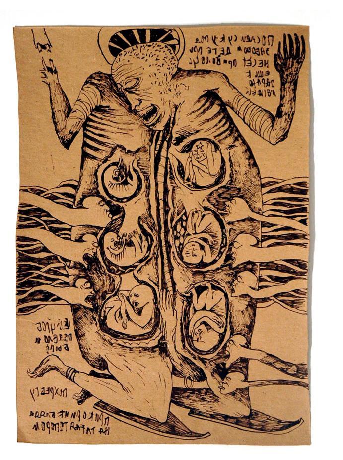 Foma Jaremtschuk :'Untitled' c.1955  ink on found paper  44 x 31 cm
