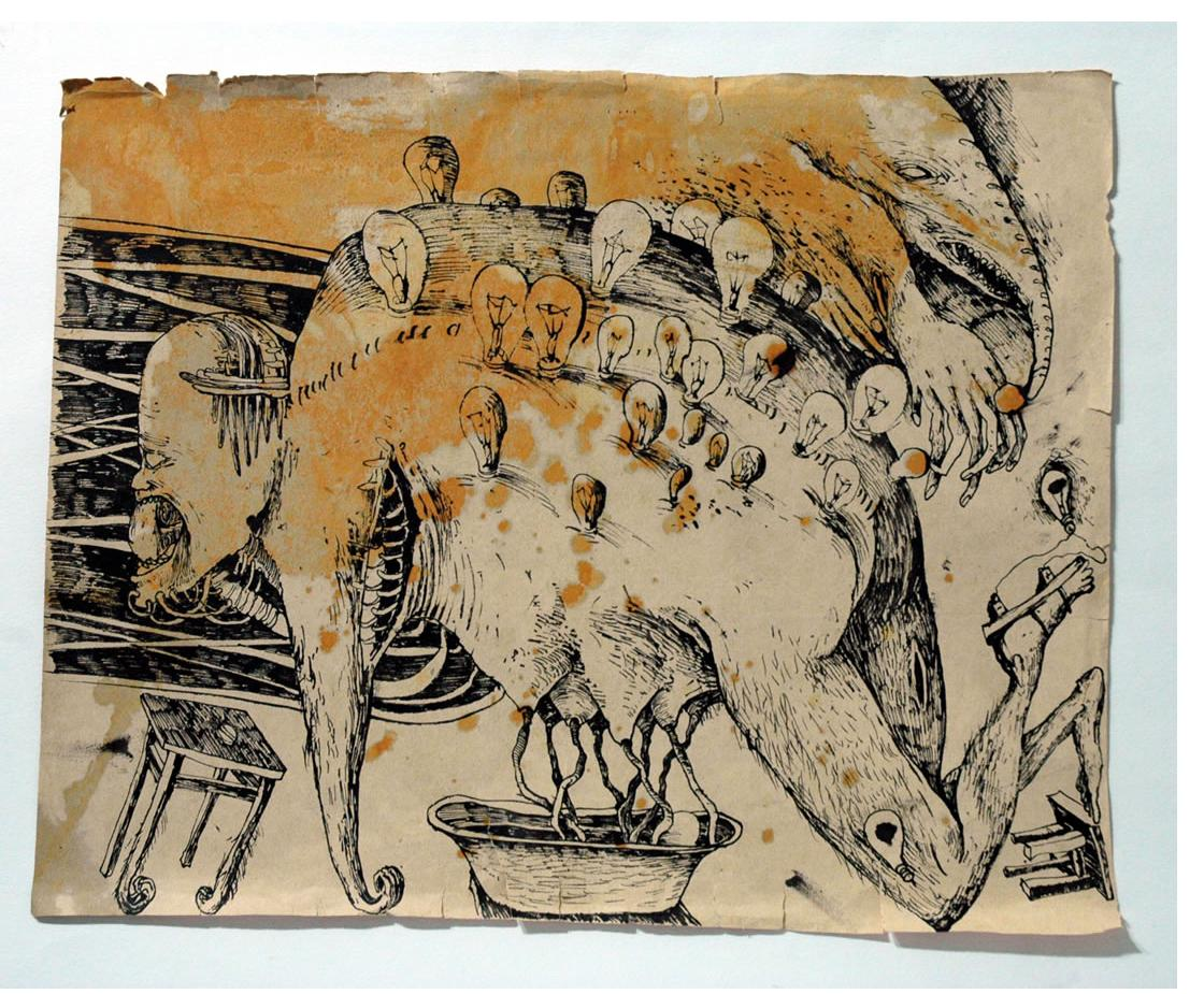 Foma Jaremtschuk :  'Untitled' c.1955  ink on found paper  43 x 53 cm