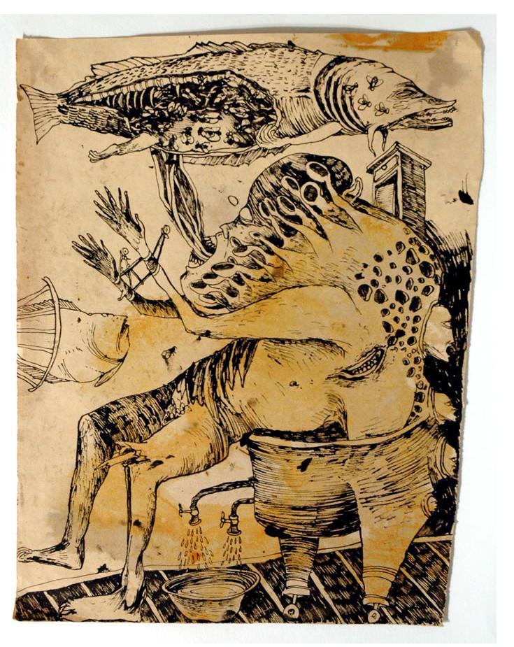 Foma Jaremtschuk :'Untitled' c.1950  ink on found paper  45 x 30 cm