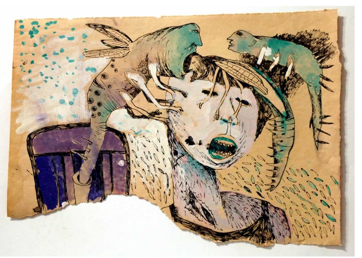 Foma Jaremtschuk :'Untitled' c.1960  ink & watercolour on found paper   30 x 40 cm
