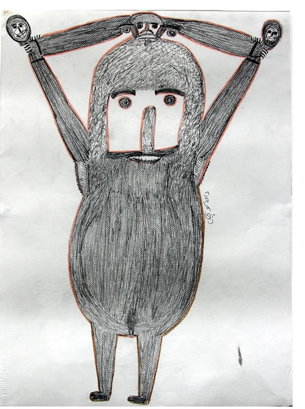 Davood Koochaki :'Untitled' crayon and pencil, 70 x 50 cm