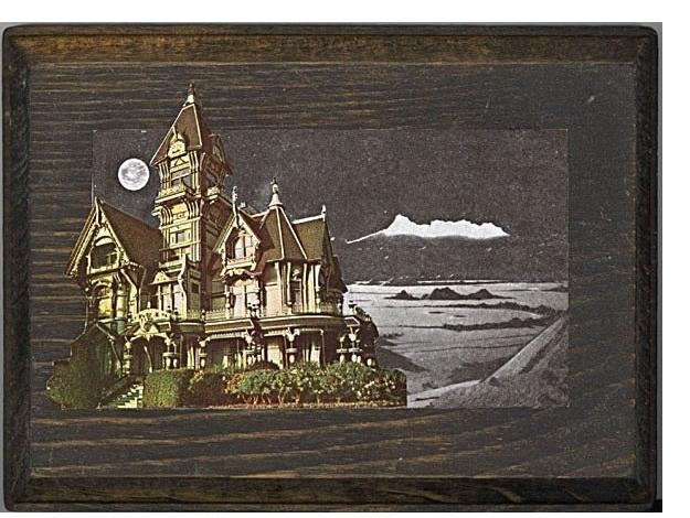 Morgan Lappin : 'Antonio's House Unframed' 7 x 5 ins(collage on wood)