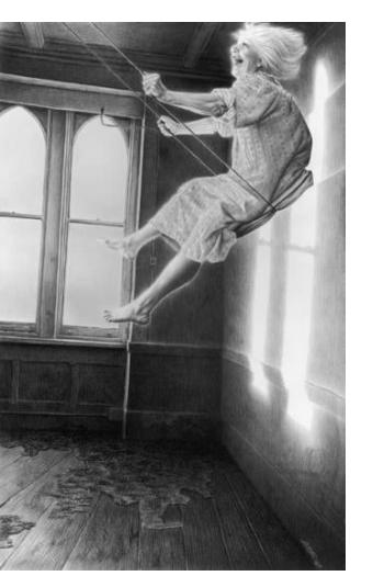 Laurie Lipton - 'The Swing' - 2003, charcoal and pencil on paper, 74.2 x 47 cm
