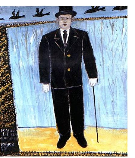 Pavel Leonov :'Leonov P.P Walking' - (self-portrait) 100 x 100 cm