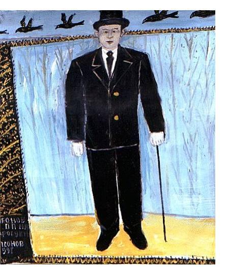 Pavel Leonov :'Leonov P.P Walking' - (self-portrait) 100 x 100 cm
