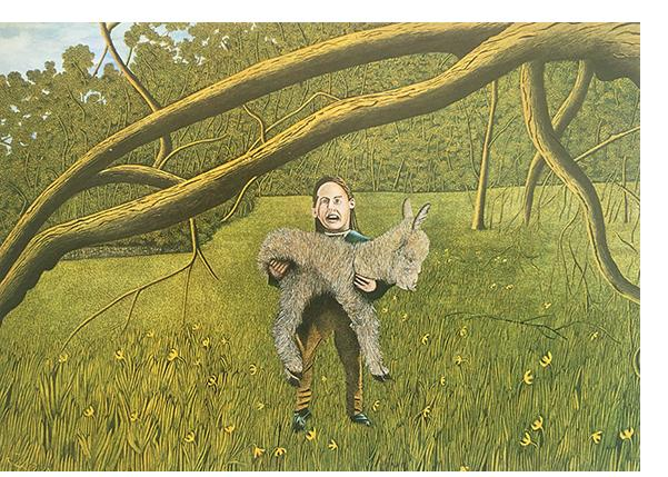 James Lloyd  'Child with Donkey'  1967  watercolour  15 x 21 inches.  Reproduced: 'Modern Primitives'  Thames & Hudson, page 137.  Provenance:  Portal Gallery, London. Gallery label verso.