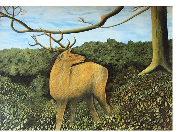 James Lloyd 'Stag' c.1965 gouache on card 12 x 16 in