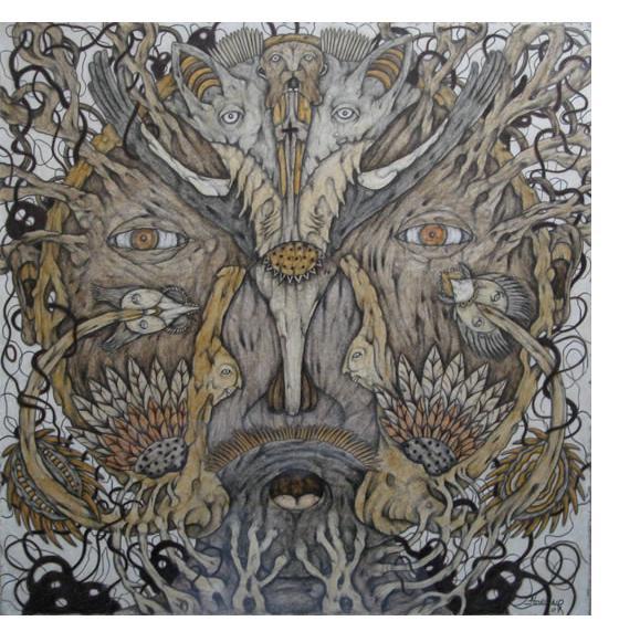 Joel Lorand - 'Mutation' 2010, pencil & crayon 16 x 16.5 ins