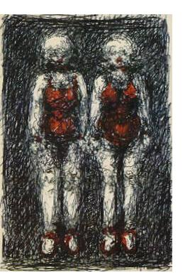 Malcolm McKesson : 'Boy & Girl Similarly Dressed' - c.1984, Pen and ink, 7 x 5 ins