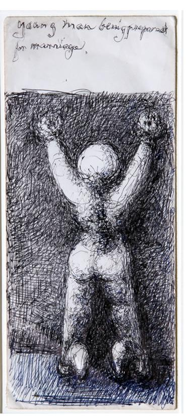 Malcolm McKesson - 'Young Man Being Prepared for Marriage' c.1975 ink on found envelope 9.5 x 4.25 in