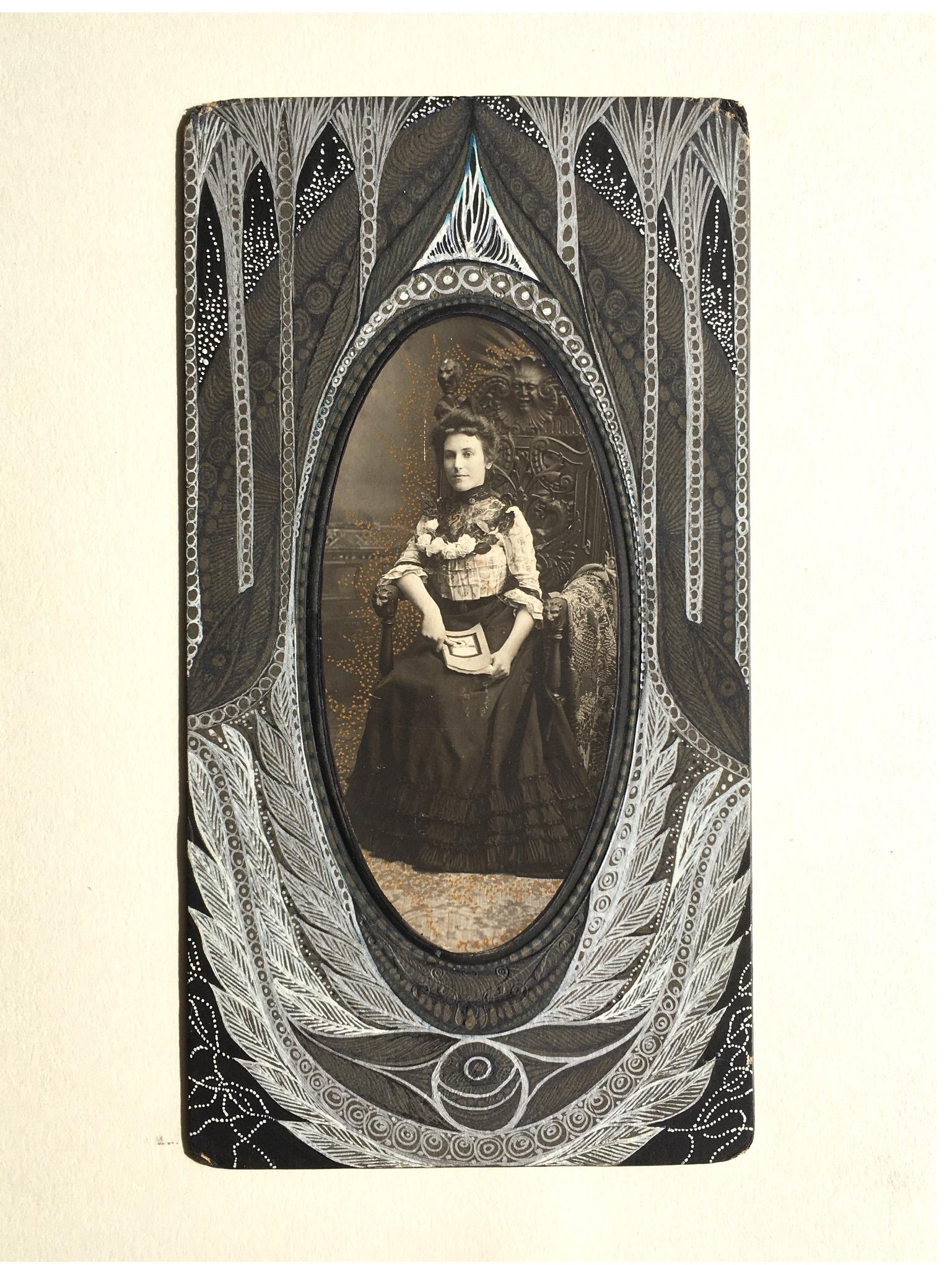 Margot: 'Untitled'  vintage photograph on card, ink;   11 x 7.5 ins, Collection College of Psychic Studies