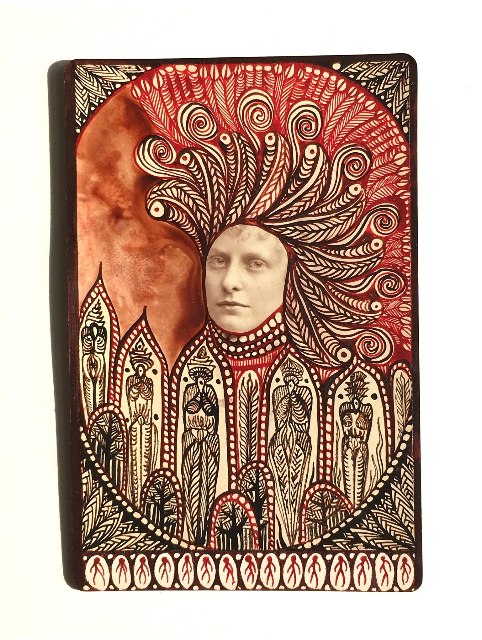 Margot: 'Untitled' vintage photograph on card, ink;  7 x 4 ins, Collection College of Psychic Studies