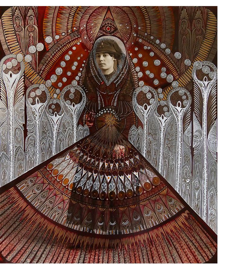 Margot: 'Angelika'  vintage photograph on card, ink;  61,5cm / 52 cm