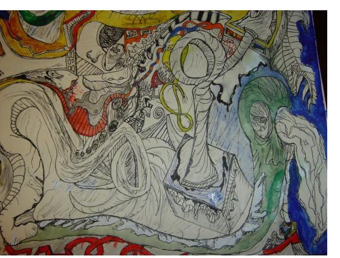 Alex Marshall :'Confuzion' - 11 x 14 ins- Outsider Art