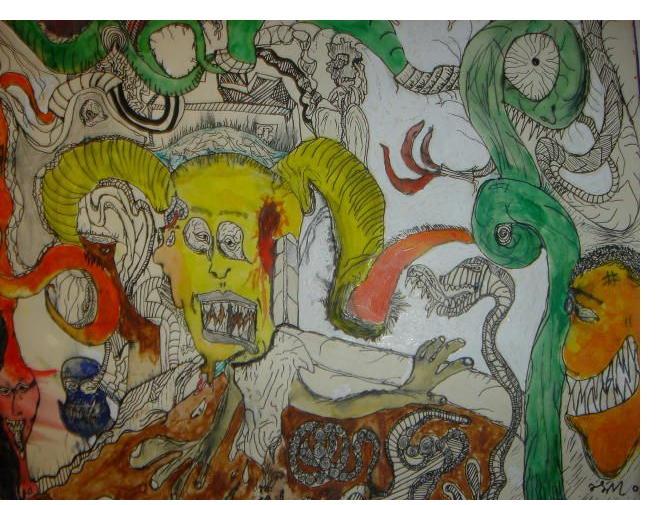 Alex Marshall :'Blood Shot' - 11 x 14 ins- Outsider Art