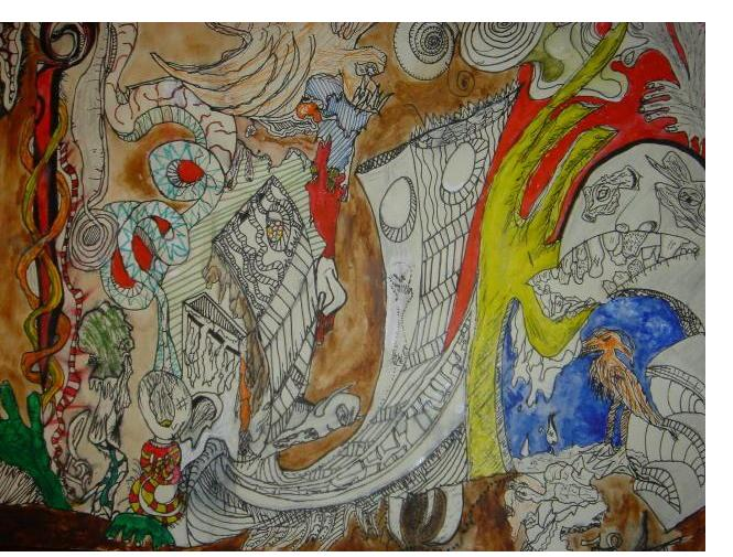 Alex Marshall :'Liquid Mess' - 11 x 14 ins- Outsider Art