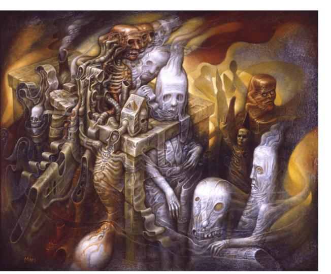 "Chris Mars: 'Relativity', oil on panel, 18"" x 22"", 2009"