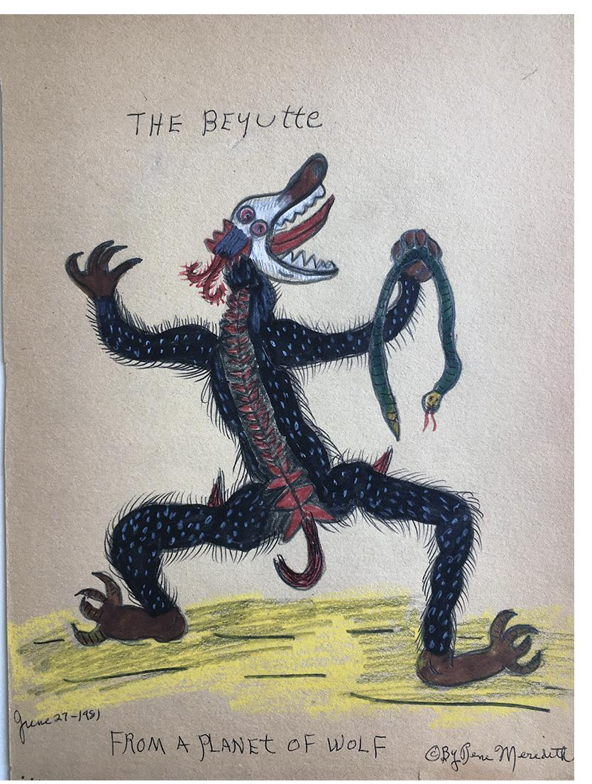 """Rene Meredith - """"The Beyutte - From a Planet of Wolf"""" 12 x 9 in, pencil & crayon"""