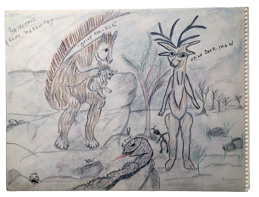 """Rene Meredith (two-sided, side A) - """"Orin ReeRe´, Orion Deer Man"""" 12 x 9 in, pencil & crayon"""