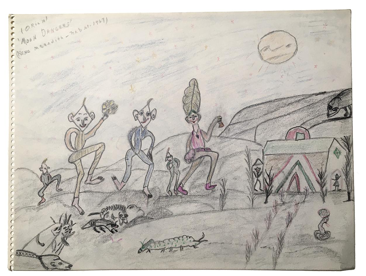 """Rene Meredith (two-sided, side A) - """"Moon Dancers"""" 12 x 9 in, pencil & crayon"""