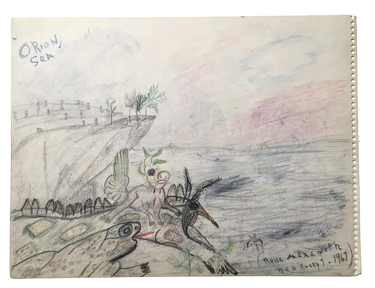 """Rene Meredith (two-sided, side B) - """"Orion, Sea"""" 12 x 9 in, pencil & crayon"""