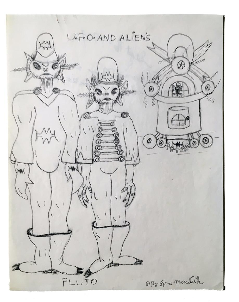 """Rene Meredith - """"U.F.O. and Alien's - Pluto"""" 12 x 9 in, pencil & crayon"""