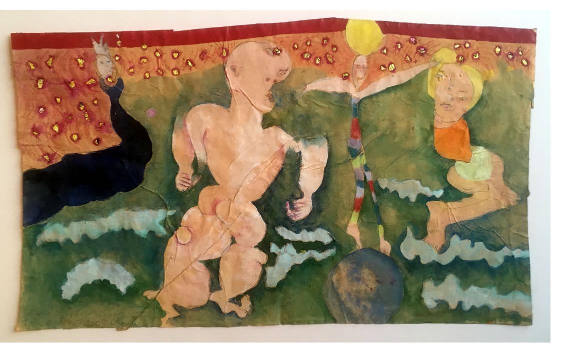 Monika Maurer-Morgenstern :  'Familie Auf Spiekeroog'  2009  mixed media on paper  15 x 9 ins
