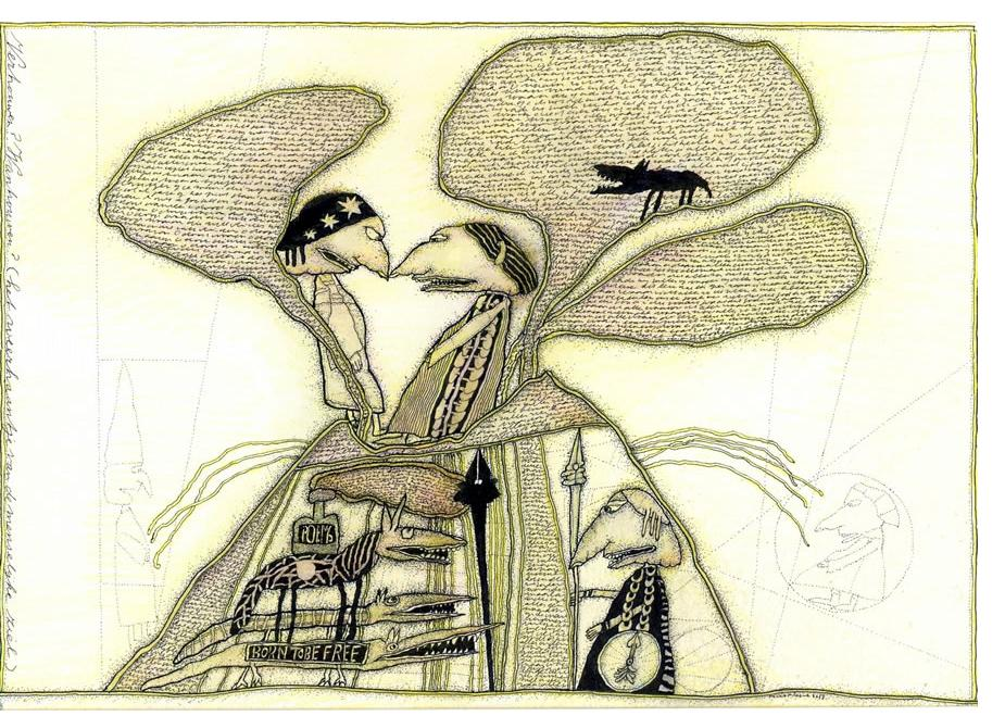 Huub Niessen 'Confidence' ink on paper, 16 x 26 cm