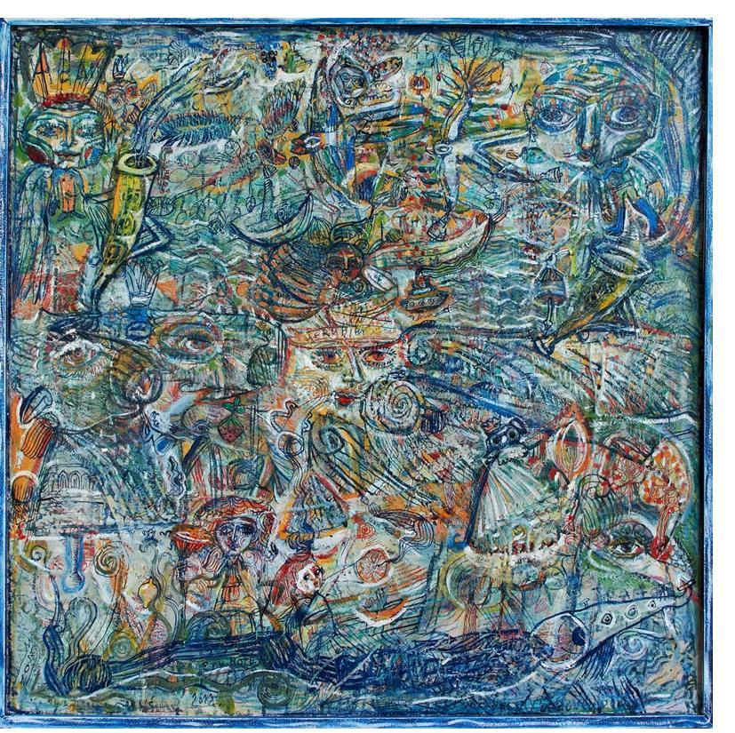 Jasna Nikolic - 'Eternity Note', 2012, 70x70 cm, oil on canvas - Outsider Art