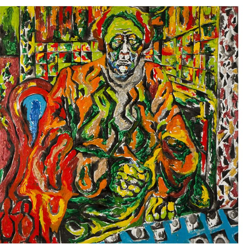 Noam Omer 'Grandma' 100 x 100cm, Acrylic on canvas- Outsider Art