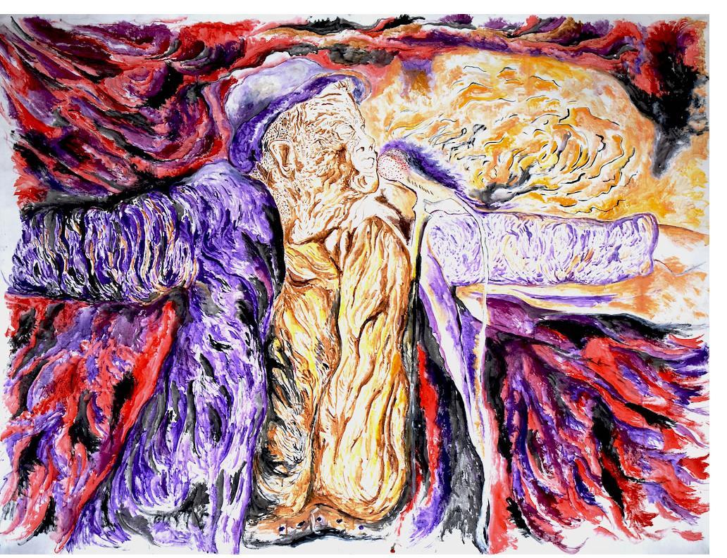 Noam Omer 'Singer' 100 x 140cm, Acrylic on Canvas