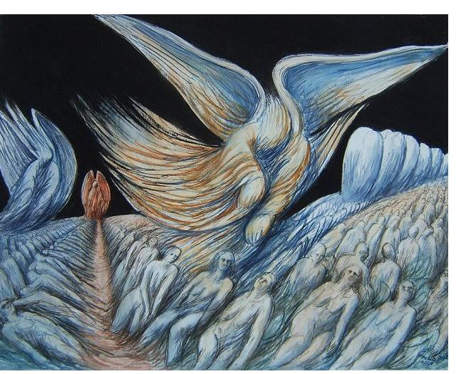 Donald Pass - 'Descending Angel' - 2002, watercolour on paper, 26 x 36 ins
