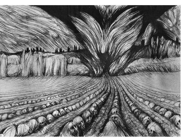 Donald Pass - 'God's Plough' 1986  ink  18 x 25 ins