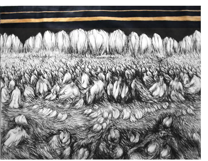 Donald Pass - 'Resurrection' 1984  charcoal & Gold paint  5 x 6ft