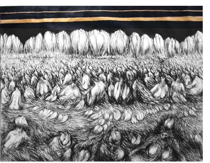 Donald Pass - 'Resurrection' 1984  charcoal & Gold paint  5 x 6ft