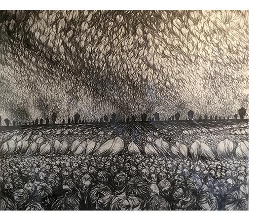 Donald Pass 'Resurrection' 1984 charcoal 5 x 4 ft