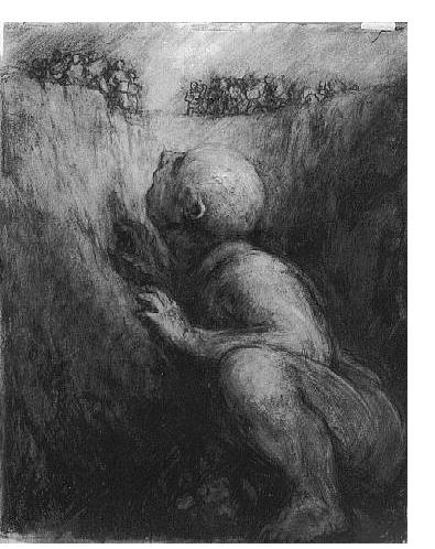 Paul Rumsey - 'Giant In Pit', 1995, 62 x 49 cm- British Artist