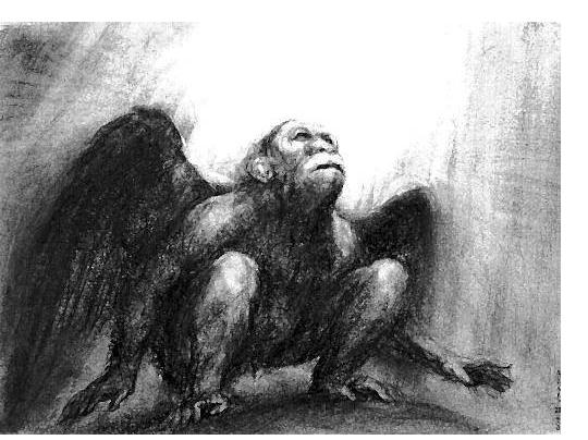 Paul Rumsey - 'Ape With Wings', 2000, 37 x 50 cm- British Artist