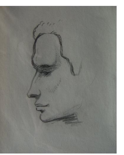 Mervyn Peake :'Study for Soldier, Titus Alone' - pencil, 7 x 5 ins. Provenance: Sebastian Peake