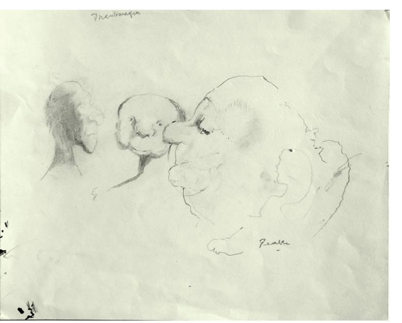 Mervyn Peake:  'Phantasmagoria' c.1950  pencil on paper, signed, 9 x 11 inches, inscribed with title by the artist