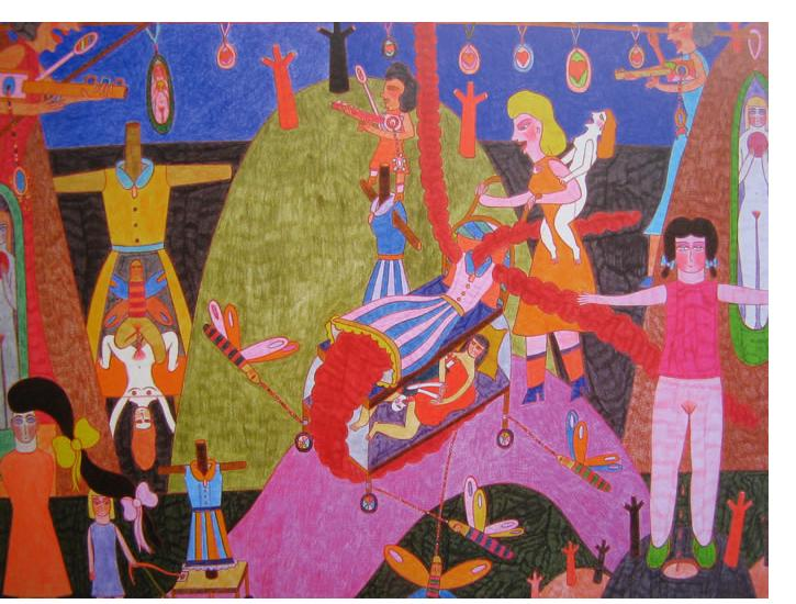Marilena Pelosi - 'Untitled', 2007, 24 x 16 ins, crayon & pencil