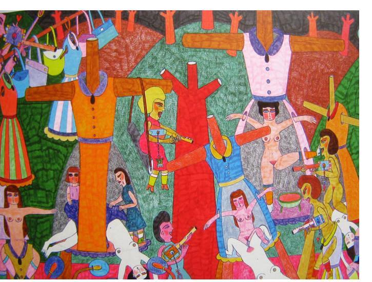 Marilena Pelosi - 'Untitled', 2007, 23 x 15 ins, crayon & pencil