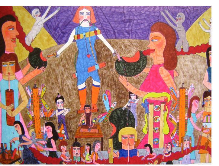 Marilena Pelosi - 'Untitled', 2009, 24 x 16 ins, crayon & pencil